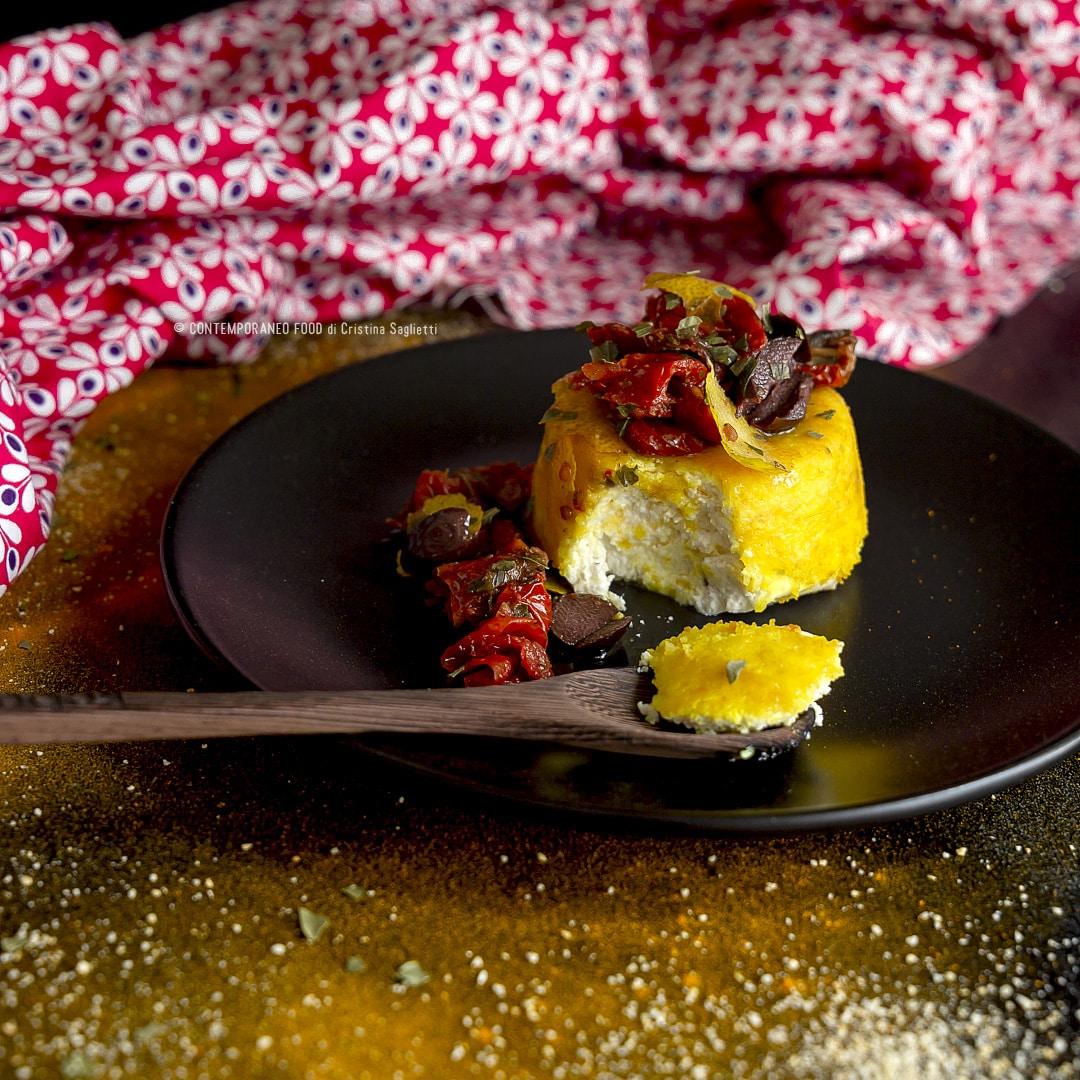 Sformato Di Ricotta E Robiola Con Curcuma Pomodorini Secchi Olive Limone