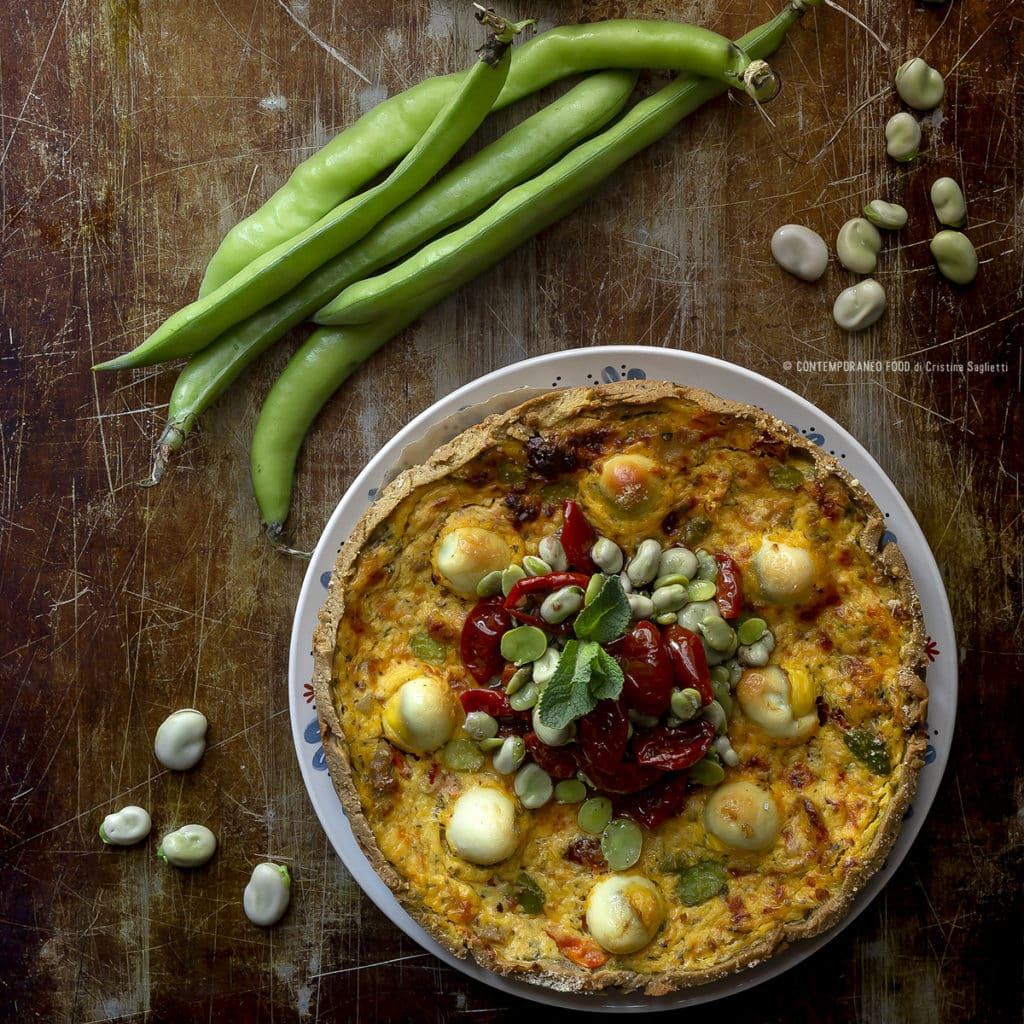 quiche-torta-salata-fave-mascarpone-menta-pomodorini-secchi-farine-alternative-farina-di-teff-ricette-pasqua-contemporaneo-food