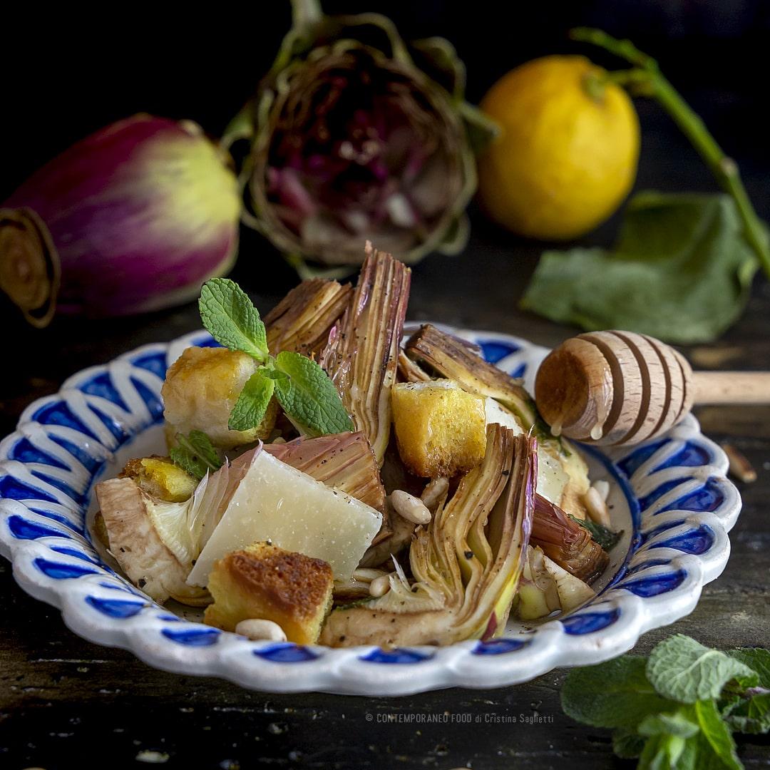 carciofi-in-insalata-con-crostini-pinoli-grana-ricetta-facile-veloce-vegetariana-contorno-contemporaneo-food