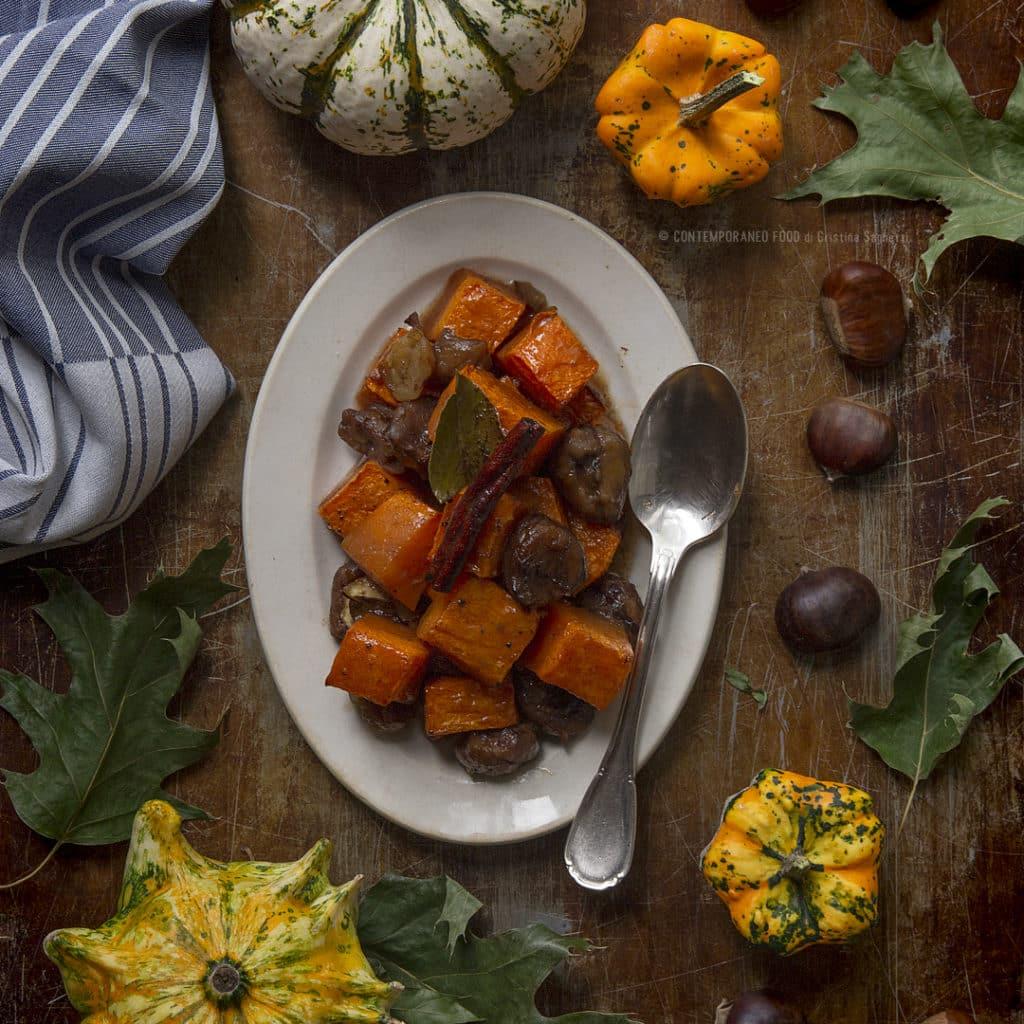 zucca-con-castagne-e-cannella-allo-sciroppo-acero-contorno-facile-ricetta-vegetariana-contemporaneo-food