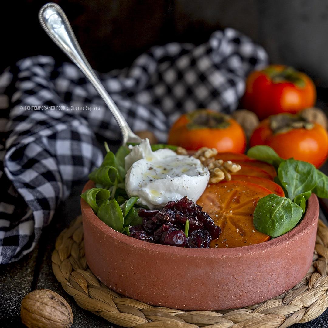 caco-mela-in-insalata-con-mirtilli-rossi-songino-burrata-di-bufala-nocontorno-ricetta-facile-light-vegetariana-contemporaneo-food