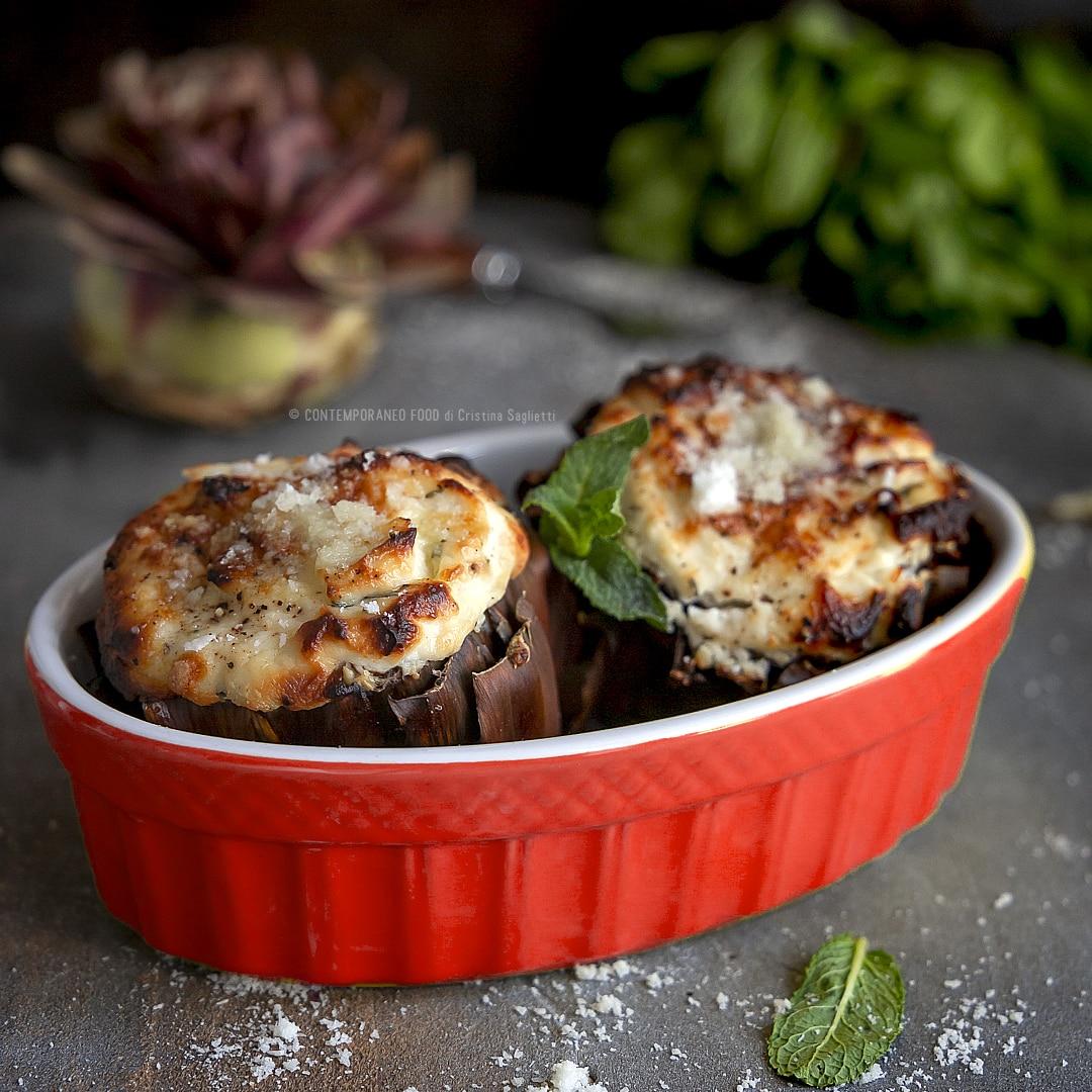 carciofi-ripieni-ricotta-menta-secondo-vegetariano-facile-veloce-contemporaneo-food