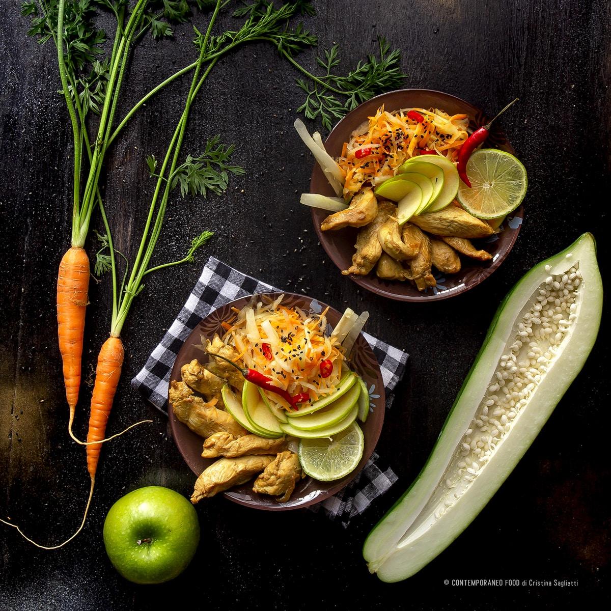 insalata-di-papaya-verde-mela-verde-carote-pollo-ricetta-light-dieta-facile-ricetta-facile-veloce-dieta-contemporaneofood