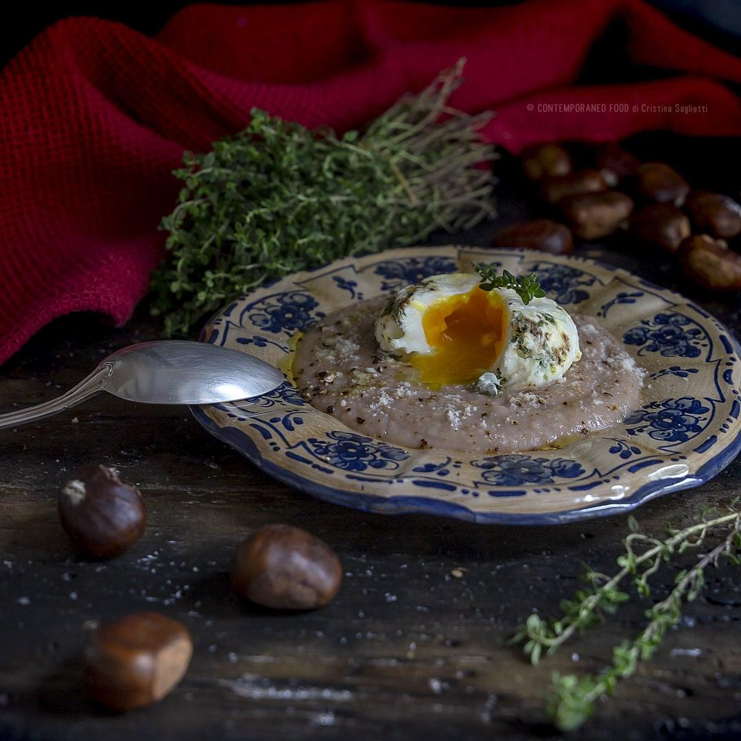crema-di-castagne-con-uovo-poché-al-timo-e-sale-affumicato-pepe-affumicato-antipasto-ricetta-facile-vegetariana-contemporaneo-food