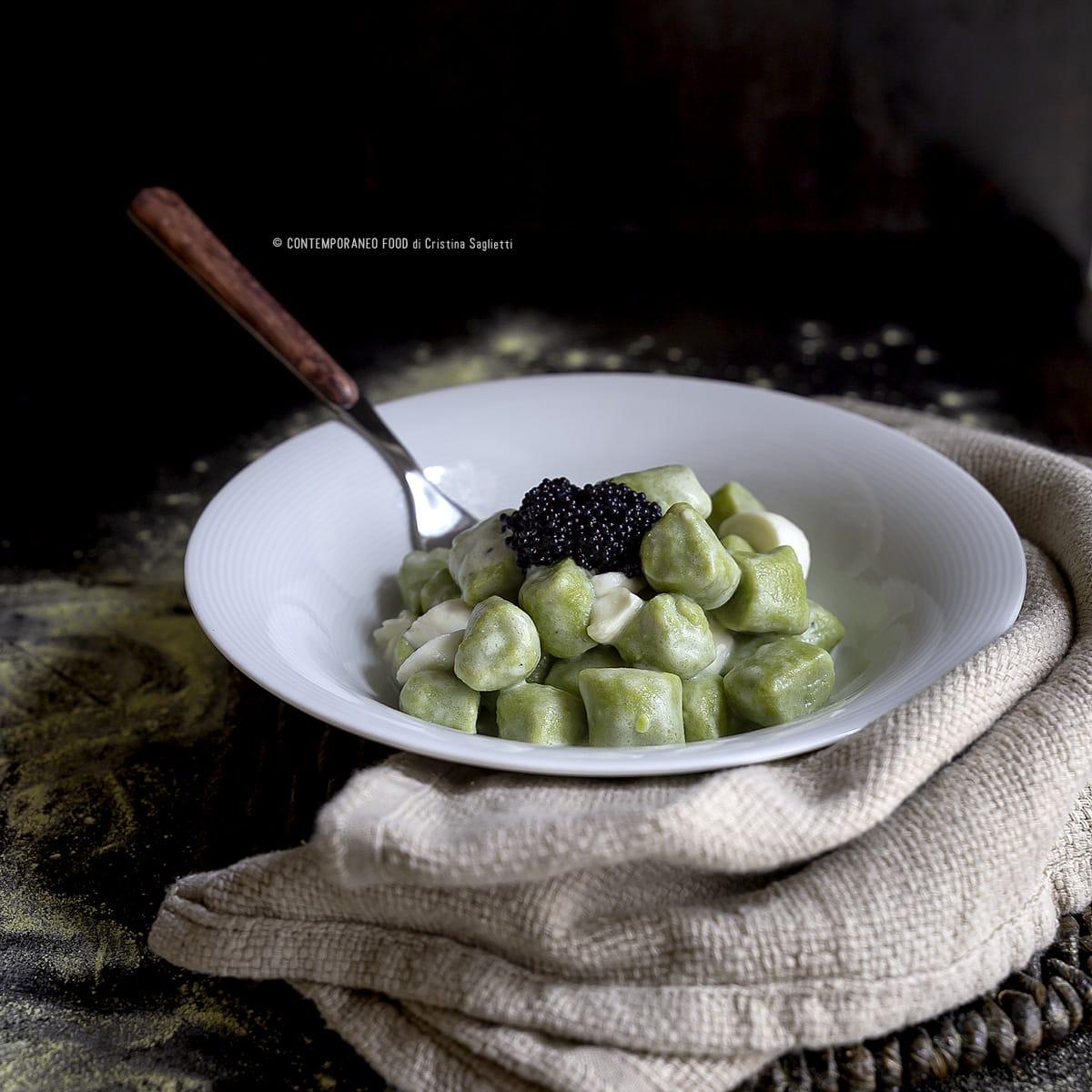 gnocchi-farina-piselli-burrata-caviale-farine-alternative-primi-contemporaneo-food