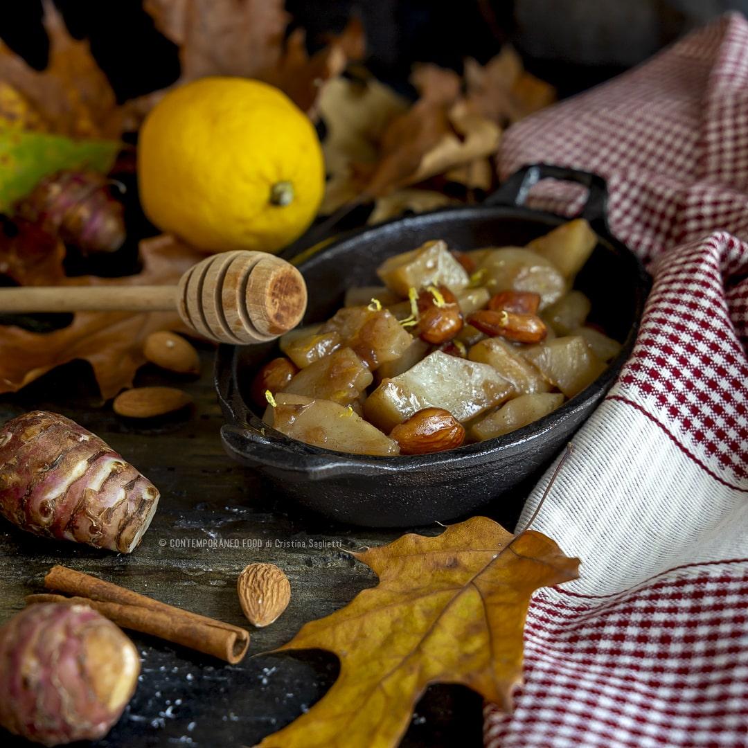 topinambur-glassati-mandorle-contorno-facile-miele-ricette-vegetariane-contemporaneo-food