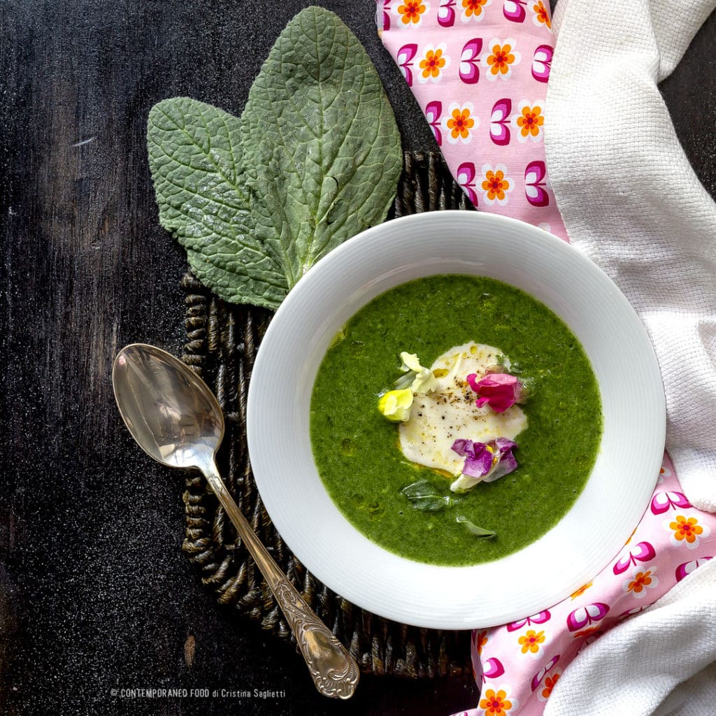 crema-di borragine-stracchino-ricetta-veloce-facile-ricetta-light-vegetariana-contemporaneo-food