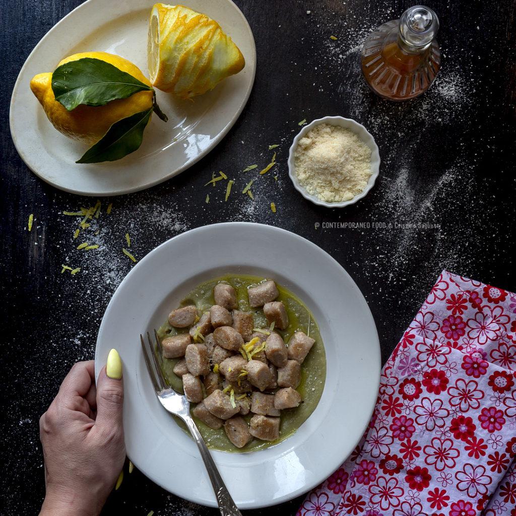 gnocchi-di-ricotta-e-farina-di-farro-con-crema-di-carciofi-al-limone-ricetta-facile-primo-farine -alternative-pasqua-contemporaneo-food