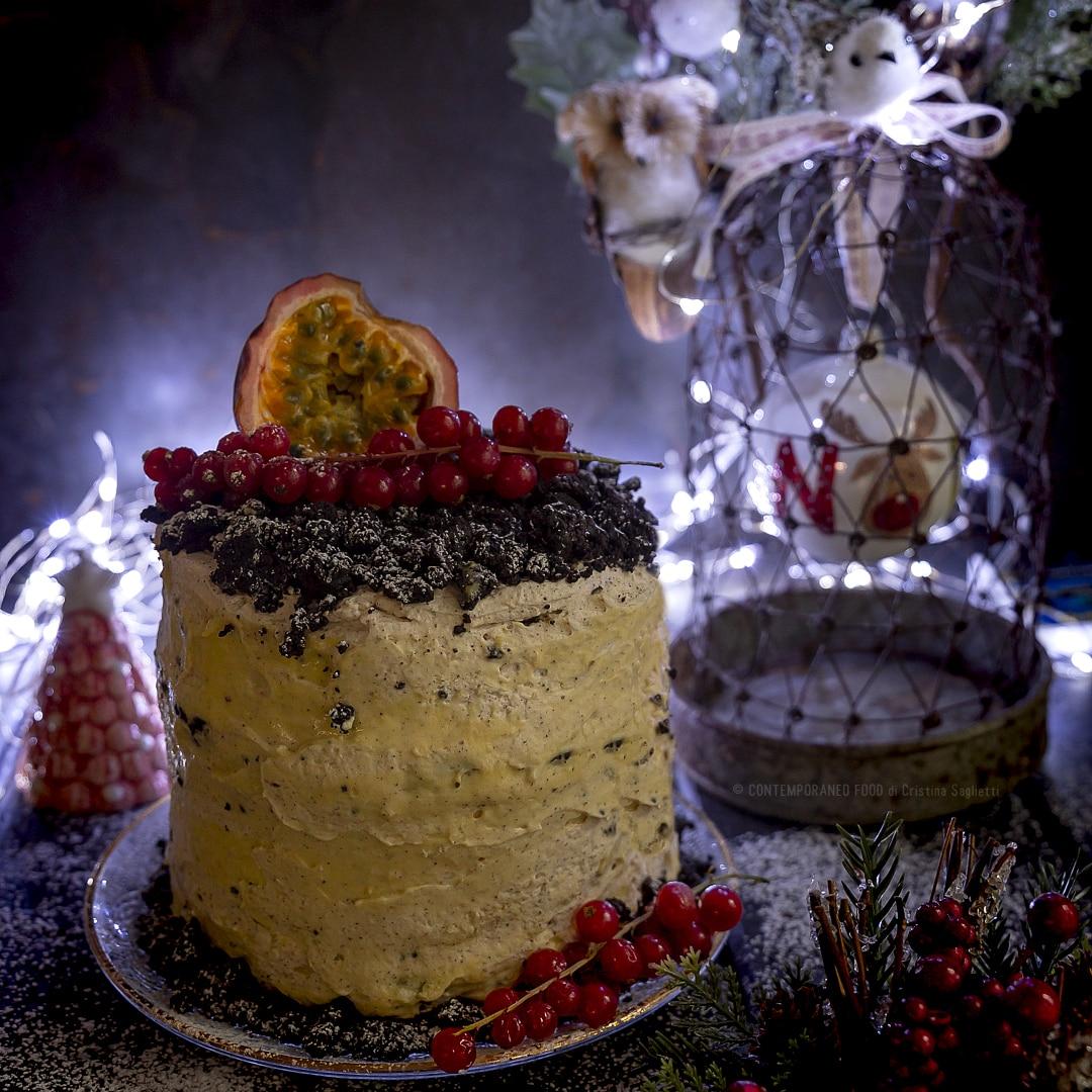 Torte Decorate Per Natale torta di natale con curd al frutto della passione pan di spagna con gocce  di cioccolato, crumble