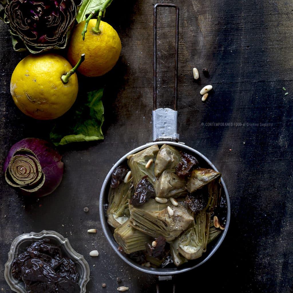 carciofi-in-umido-con-prugne-pinoli-al-profumo-di-limone-contorrno-facile- contemporaneo-food