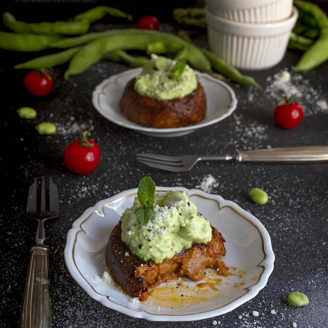flan-senza-uovo-di-pomodoro-con-crema-di-fave-ricetta-facile-veloce-vegetariana-antipasto-contemporaneo-food