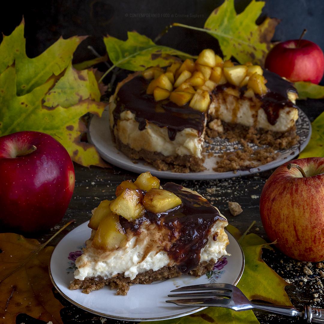 cheesecake-alle-mele-con-ganache-fondente-mele-caramellate-dolce-facile-merenda-contemporaneo-food