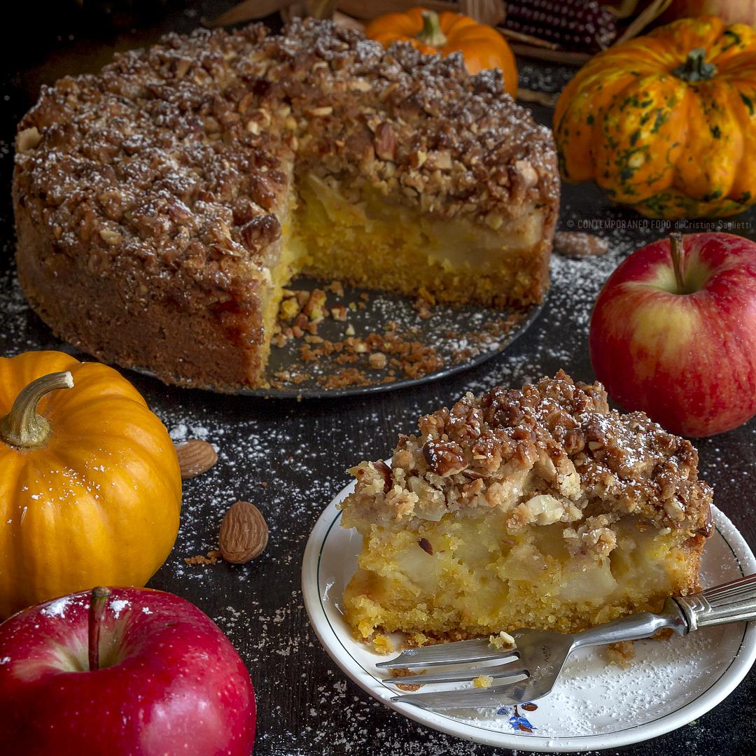 torta-sofficissima-alla zucca-con-mele-e-mandorlato-alla-vaniglia-dolce-facile-merenda-contemporaneo-food