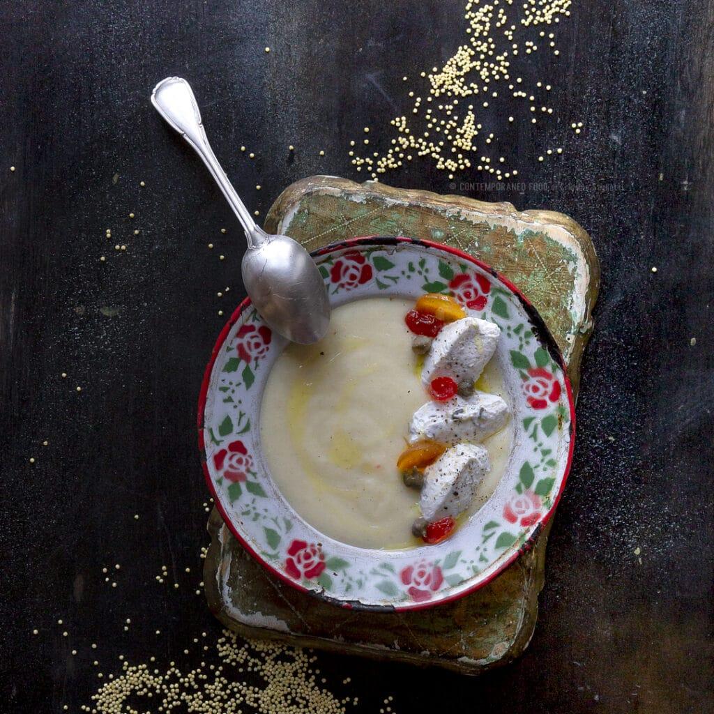 crema-di-miglio-con-ricotta-ai-capperi-mostarda-primo-vegetariano-contemporaneo-food