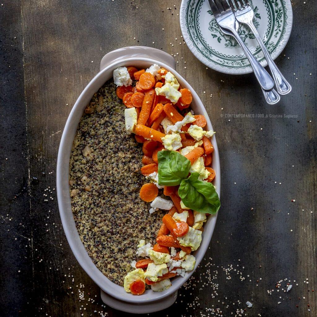 timballo-di-quinoa-cannellini-pesto-con-carote-speziate-e-feta-al-forno-primo-piatto-vegetariano-contemporaneo-food