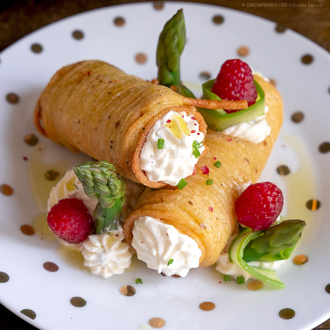 cannoli-fritto-pasta-crema-pinoli-robiola-asparagi-antipasto-vegetariano-pasqua-contemporaneo-food