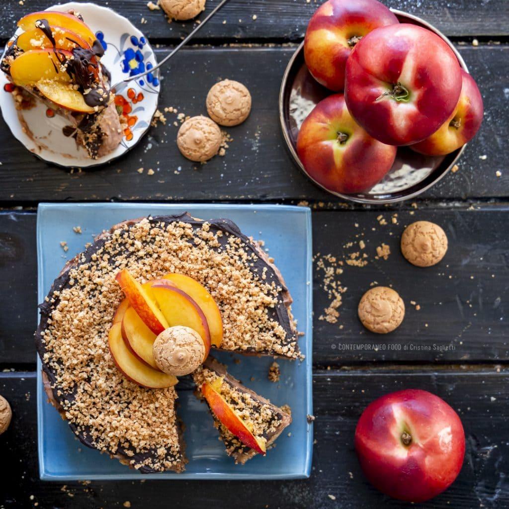 cheesecake-variegata-pesche-cioccolato-amaretto-dolce-senza-cottura-facile-estivo-contemporaneo-food